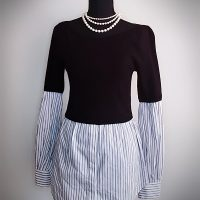 White House Black Market Layered-Look Shirt And Sweater Size M