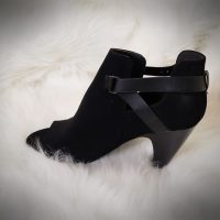 Women's Open Toe Faux Suede High Heel Ankle Bootie