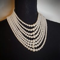 Elegant Multilayers Simulated Pearl Strand Cluster Collar Bib Choker Jewelry