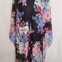 Women's Floral Print Sheer Chiffon Loose Kimono Cover Up