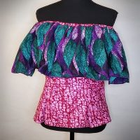 African Ankara Print Off Shoulder Top