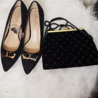 Matching Suede Shoe and Bag Black/Gold SZ 8.5