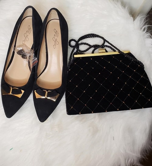 Matching Suede Shoe and Bag Black/Gold SZ 8.5 3