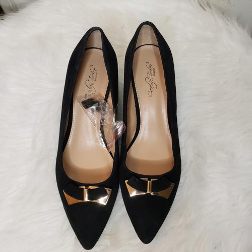 Matching Suede Shoe and Bag Black/Gold SZ 8.5 4
