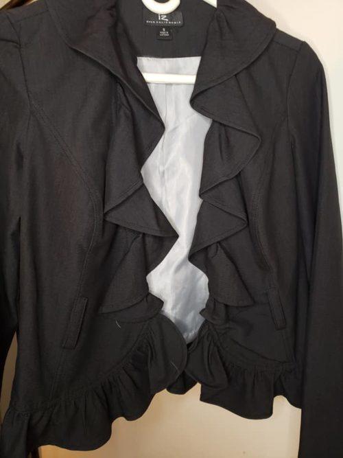 Women's Ruffle Jacket Size S Black 5