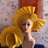 African Auto Gele  Yellow with Bow