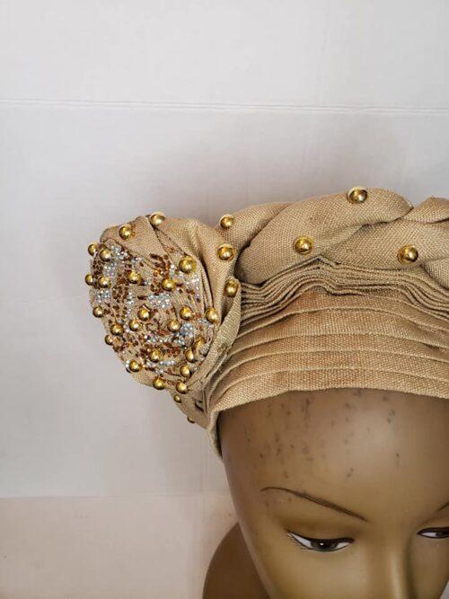 Aso Oke Auto Gele Gold (Hat) 5