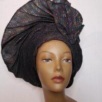 Aso Oke Auto Gele Black (Hat)