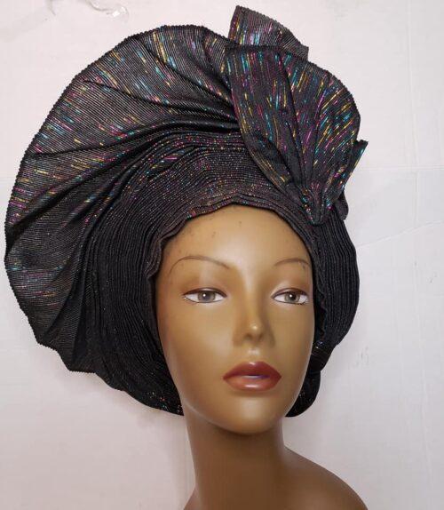 Aso Oke Auto Gele Black (Hat) 3
