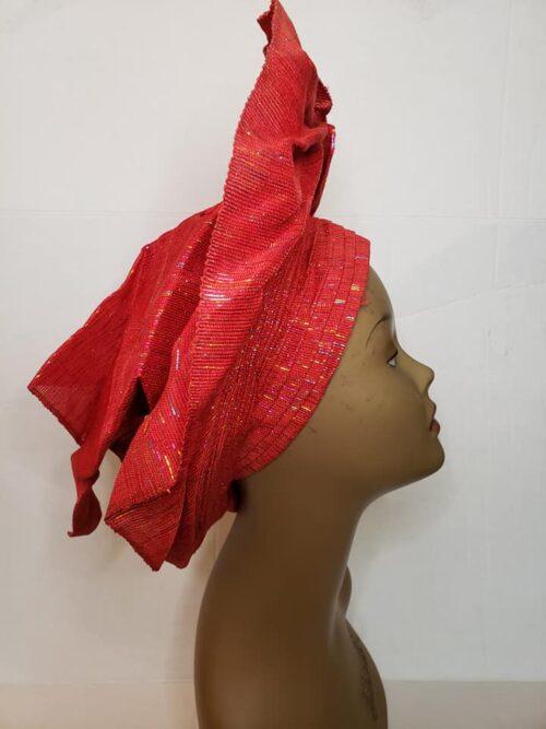 Aso Oke Auto Gele Red (Hat) 5