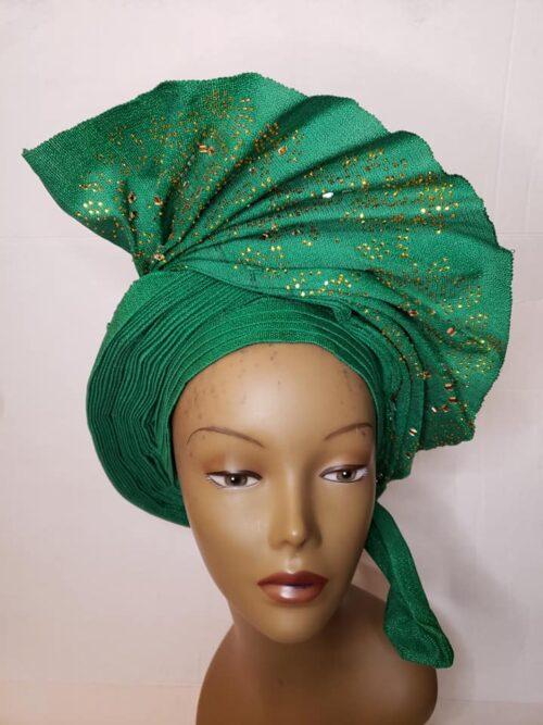 Aso Oke Auto Gele with Ipele (Shawl) Green 5