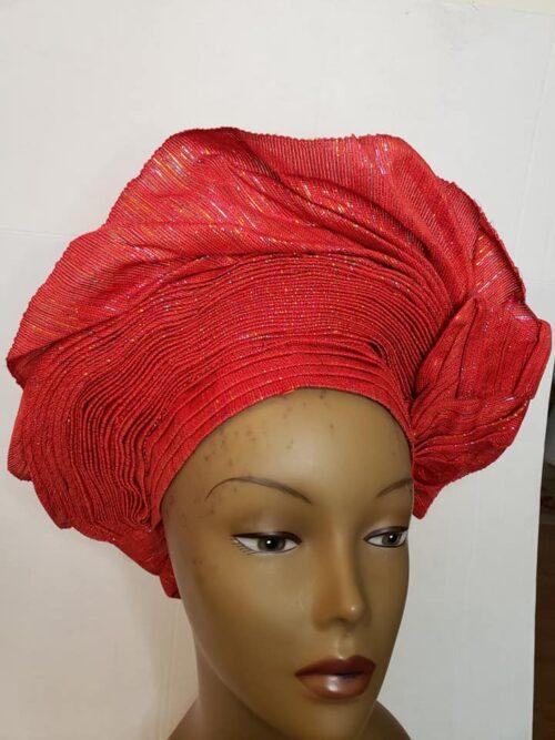 Aso Oke Auto Gele Red (Hat) 4