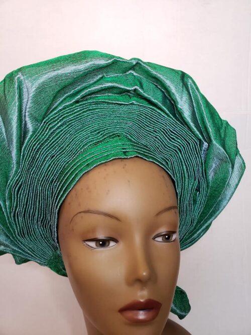 Aso Oke Auto Gele Green (Hat) 4