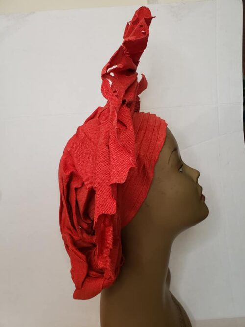 Aso Oke Auto Gele with Ipele (Shawl) Red 5