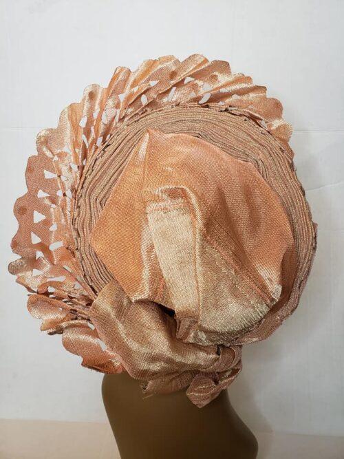 Aso Oke Auto Gele Peach (Hat) 6