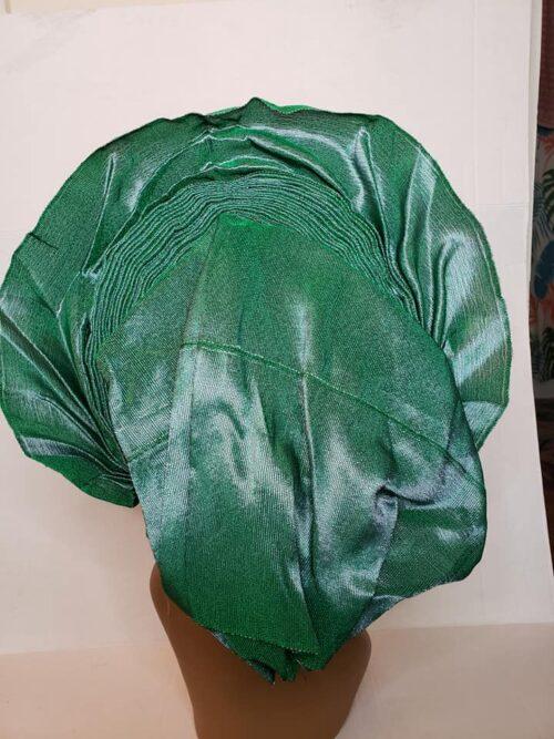 Aso Oke Auto Gele Green (Hat) 6