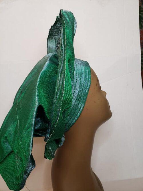 Aso Oke Auto Gele Green (Hat) 5
