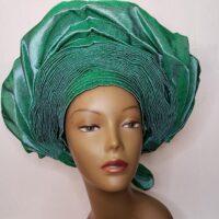 Aso Oke Auto Gele Green (Hat)