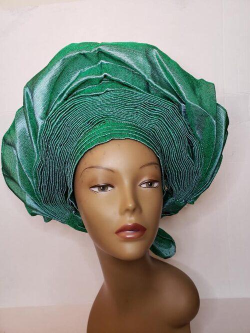 Aso Oke Auto Gele Green (Hat) 3