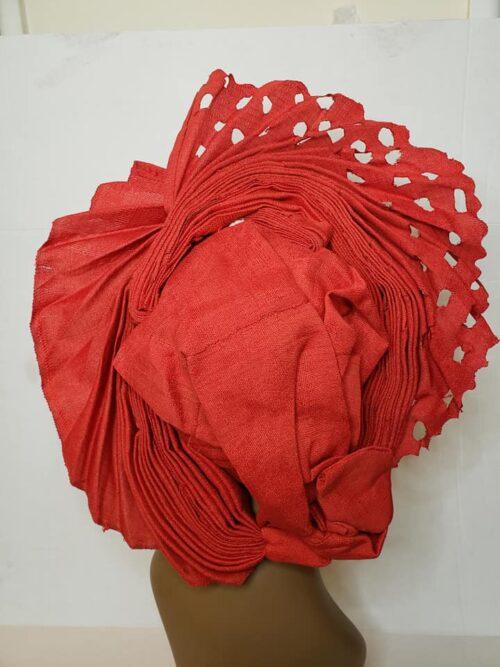 Aso Oke Auto Gele with Ipele (Shawl) Red 4