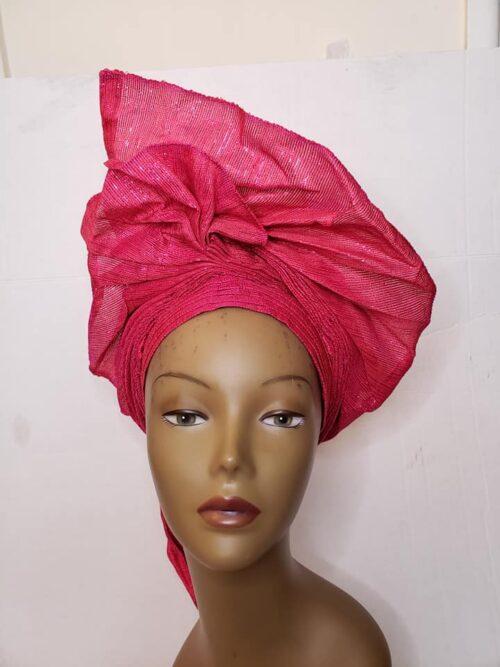Aso Oke Auto Gele Pink (Hat) 3