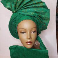 Aso Oke Auto Gele with Ipele (Shawl) Green