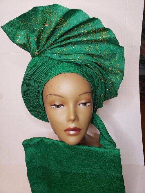 Aso Oke Auto Gele with Ipele (Shawl) Green 3