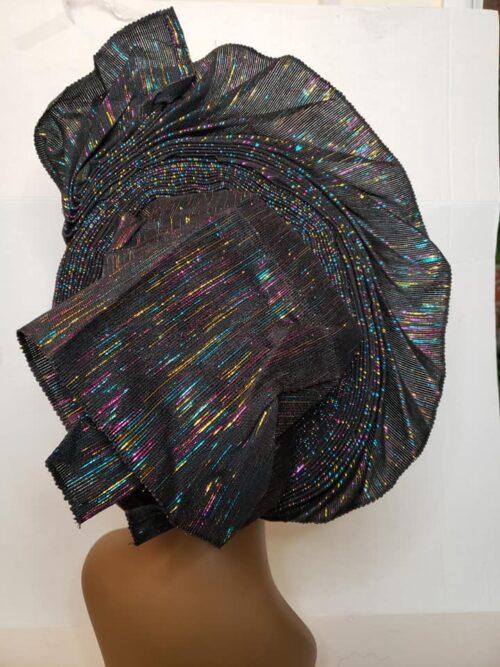 Aso Oke Auto Gele Black (Hat) 5