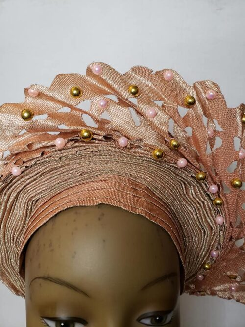 Aso Oke Auto Gele Peach (Hat) 4