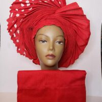 Aso Oke Auto Gele with Ipele (Shawl) Red