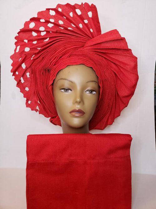 Aso Oke Auto Gele with Ipele (Shawl) Red 3