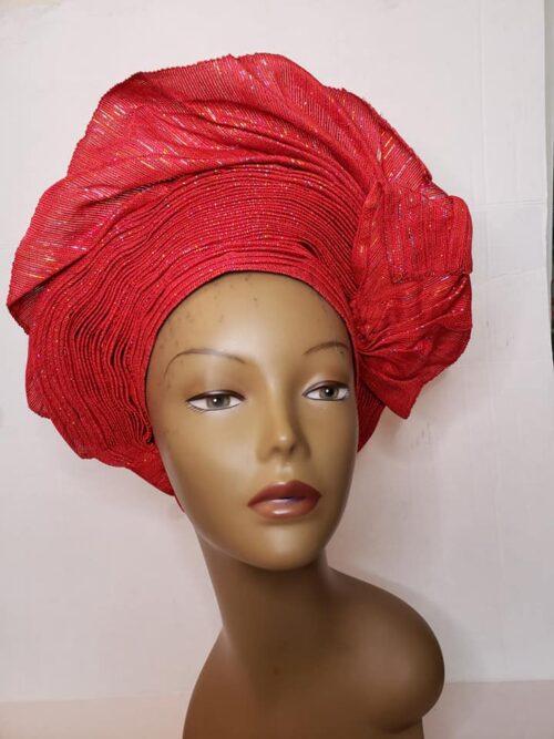 Aso Oke Auto Gele Red (Hat) 3