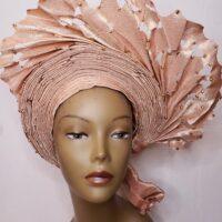 Aso Oke Auto Gele Peach (Hat)