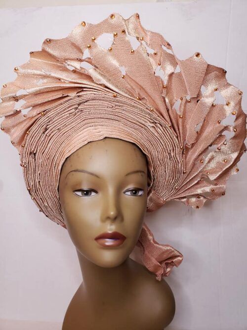 Aso Oke Auto Gele Peach (Hat) 3