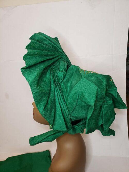 Aso Oke Auto Gele with Ipele (Shawl) Green 4