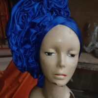 Latest Raw Silk Gele (Hat) Blue