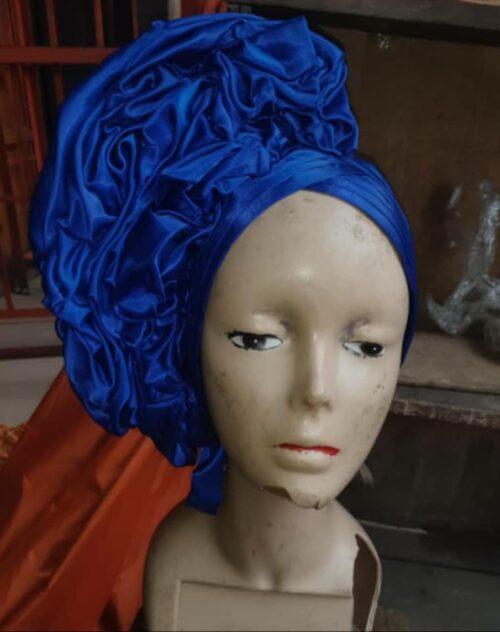 Latest Raw Silk Gele (Hat) Blue 3