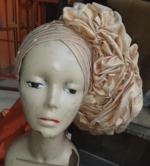 Latest Raw Silk Gele (Hat) Gold 2