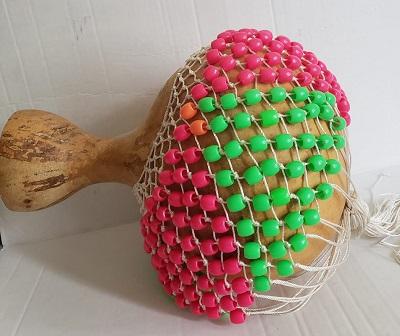 Pearl Folklore Shekere Large Green&Pink 3